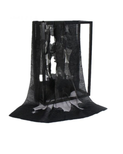 Silk Feel Shawl - Black