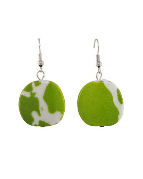 Jamaica Earrings - Green /white