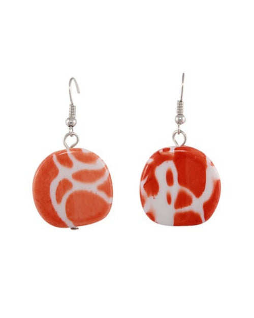 Jamaica Earrings - Orange/white