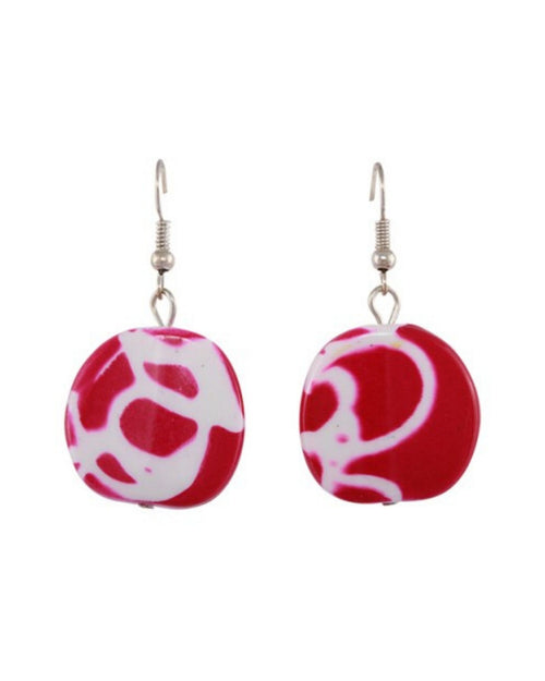 Jamaica Earrings - Bright Pink/white