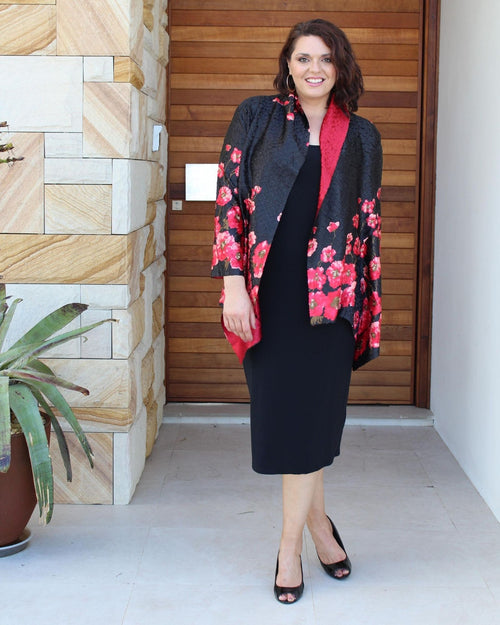 Silk Evening Jacket - Poppy