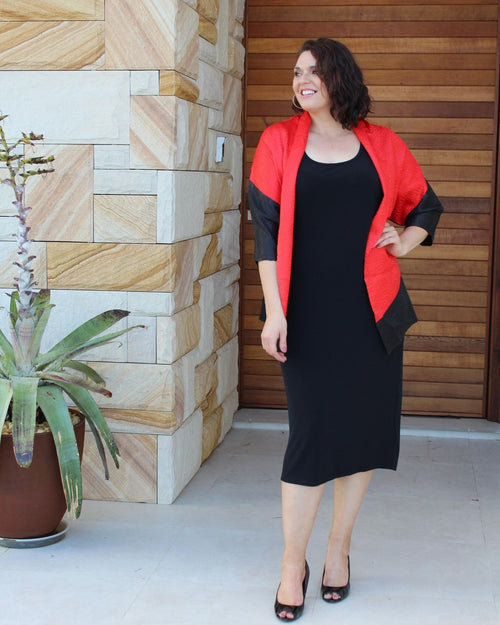 Silk Evening Jacket - Red & Black