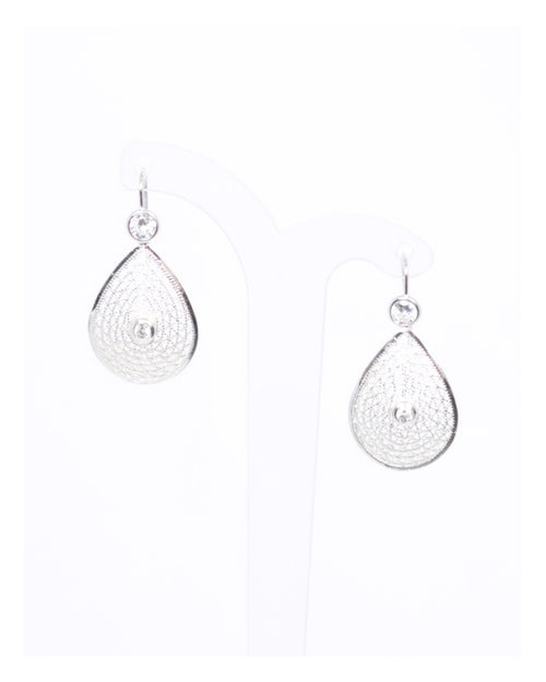 Silver Filigree and Crystal Teardrop Earrings