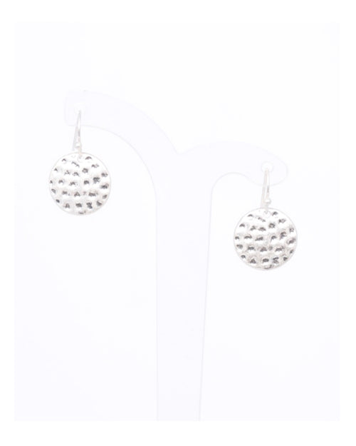 Silver Mini Beaten Disk Earrings