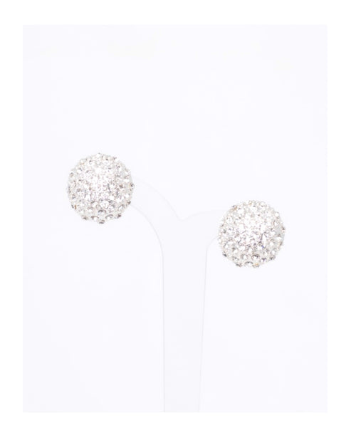 Silver Pave Dome Crystal Earrings