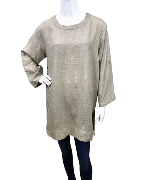 100% Linen Top With Roll Up Sleeves - Stone Size 10-18