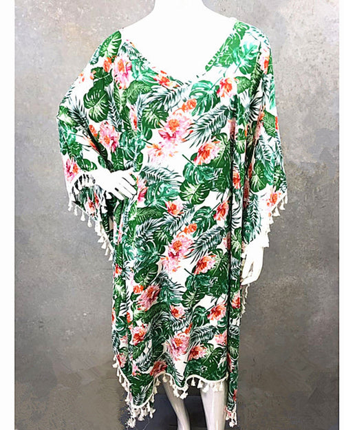 Green Flower Long Kaftan -Tassle Trim