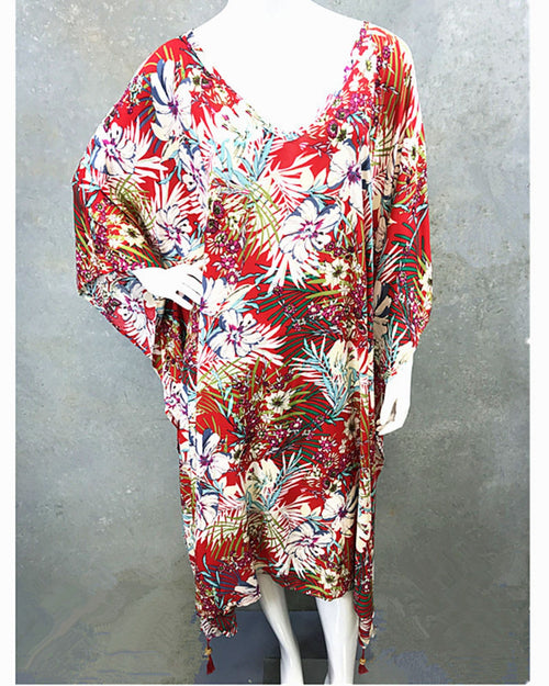 Red Flower Long Kaftan -Corner Tassles