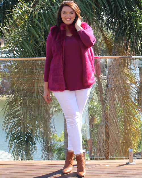 Long Sleeve Top - Berry