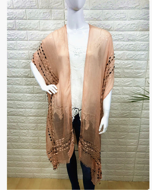 Lightweight Cover Up - Embroidery Trim Peach  - 100% Cotton