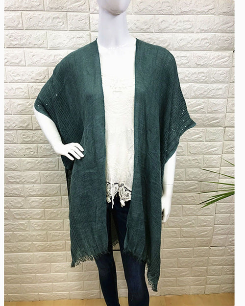 Lightweight Cover Up - Sequin Trim Green - 100% Cotton