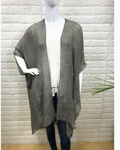 Lightweight Cover Up - Grey Sequin Trim  - 100% Cotton