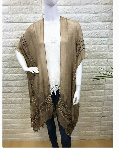 Lightweight Cover Up - Embroidery Trim Beige - 100% Cotton