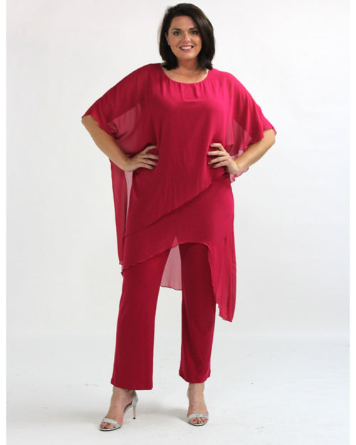 Tilly Chiffon Jumpsuit - Pink- Sizes 10-18
