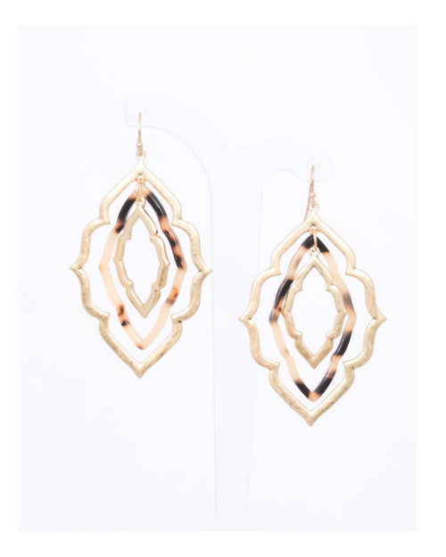 Light Tort Window Pane Earrings