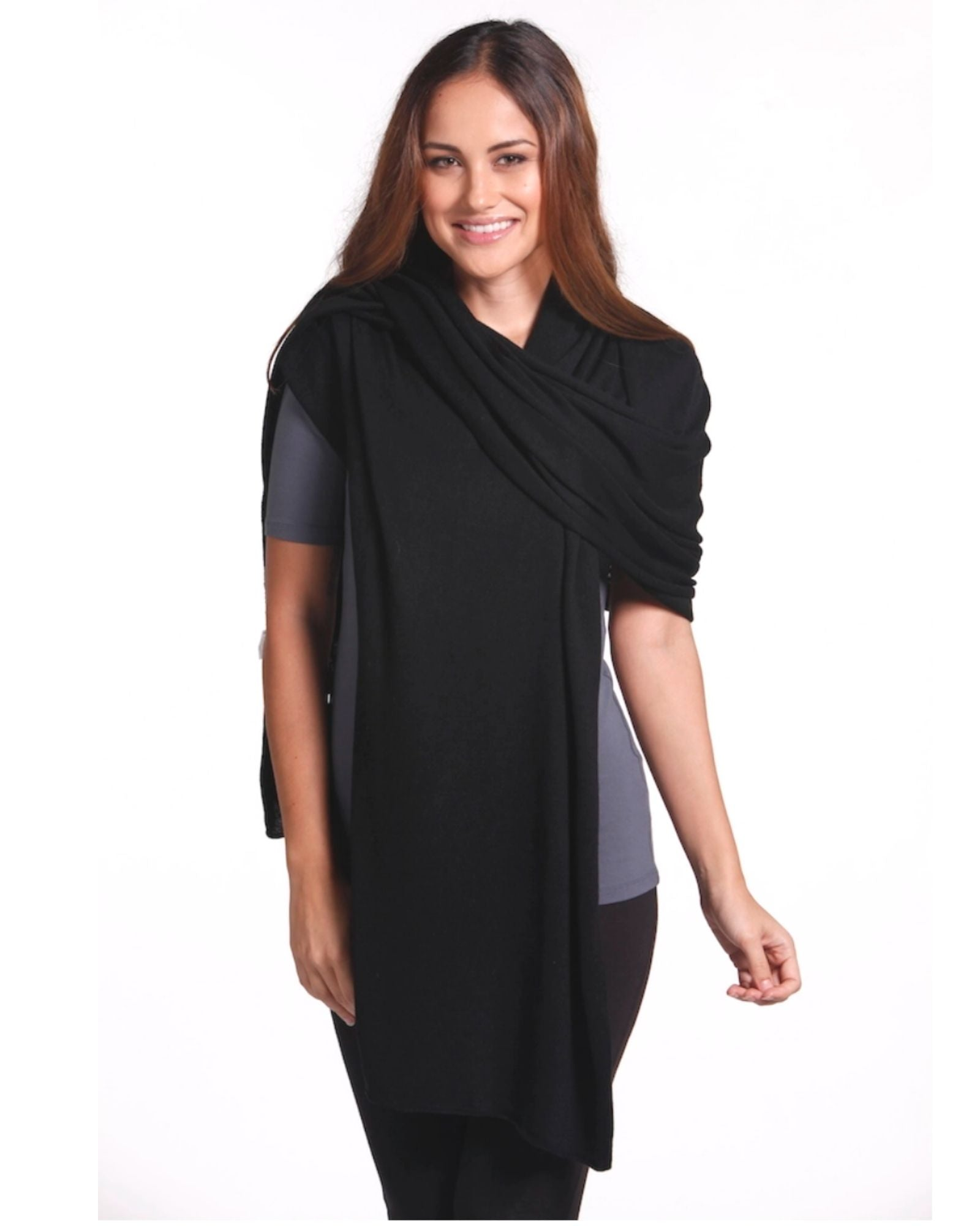 Bamboo Cashmere Wool Travel Wrap - Black
