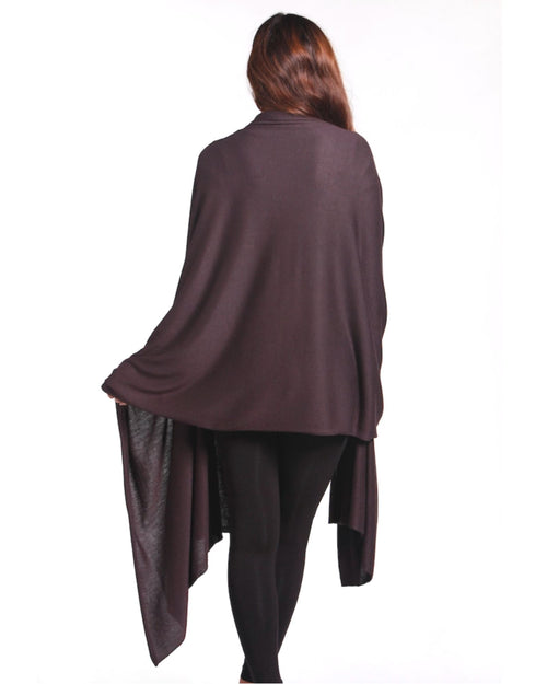 Bamboo Cashmere Wool Travel Wrap -Cocoa