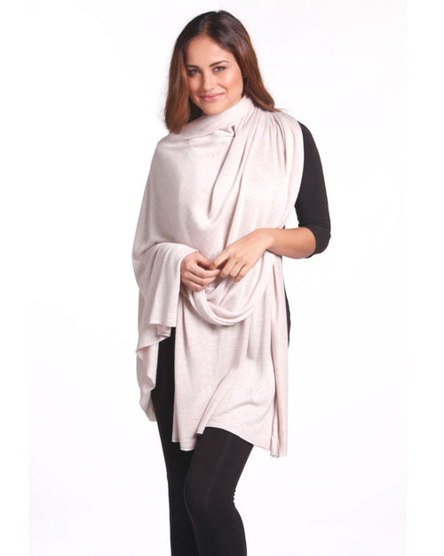 Bamboo Cashmere Wool Travel Wrap - Oatmeal