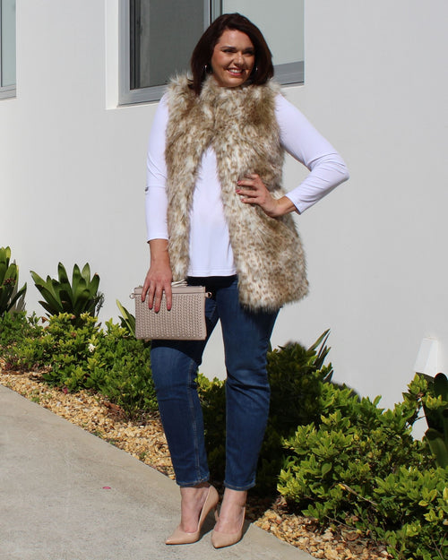 Faux Fur Vest - Animal