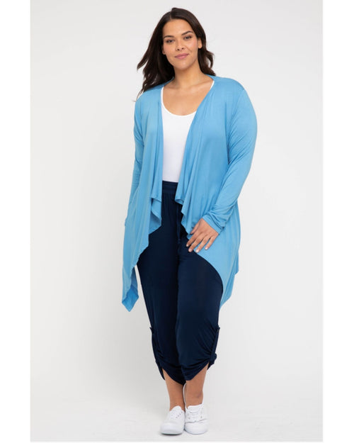 Waterfall Cardigan Sky Blue -Size 8-20