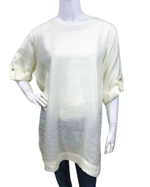 100% Linen Top With Roll Up Sleeves - White Size 10-18