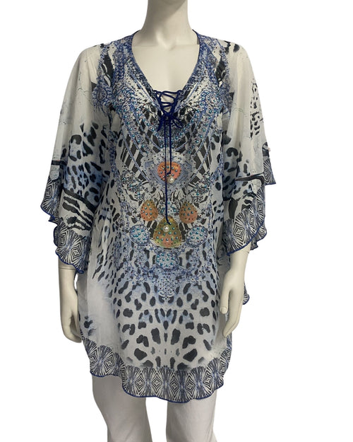 White & Blue Kaftan Top