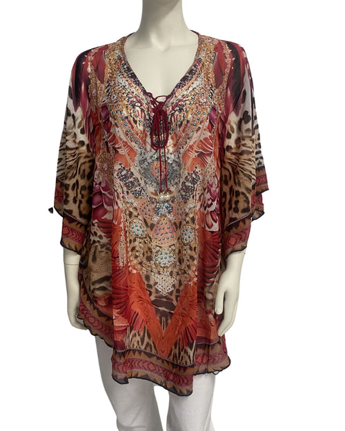 Red Animal Kaftan Top