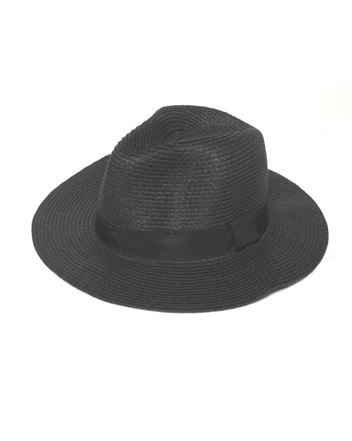 Black Fedora Sun Hat - Black  Trim