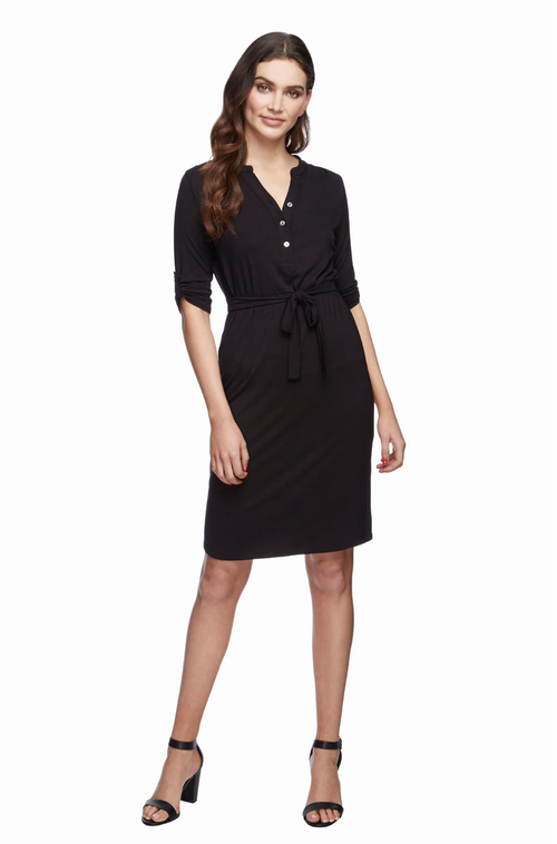 Tab Sleeve Dress -Black Size 10 -22