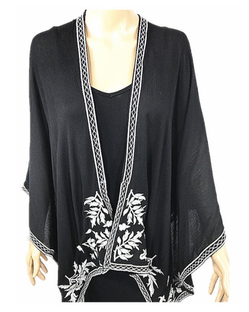 Embroidery Cotton Cape - Black