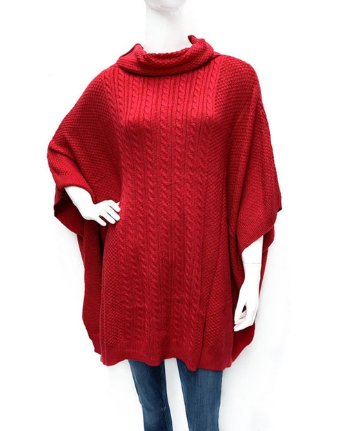 Cowl Neck Cable Knitted Poncho -Red