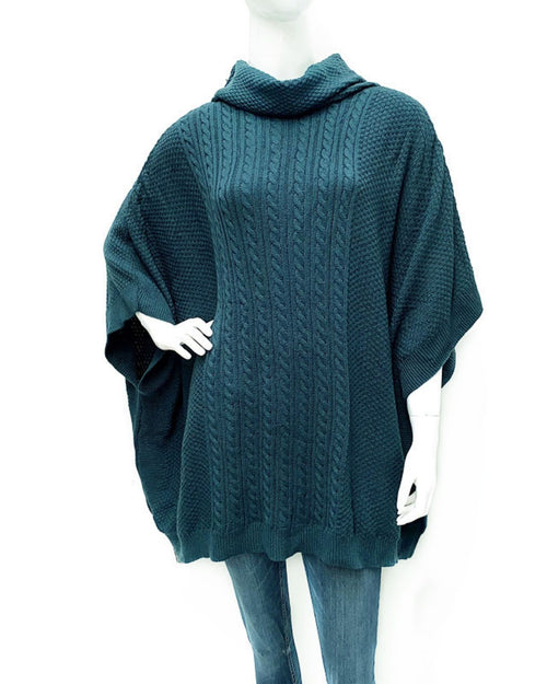 Cowl Neck Cable Knitted Poncho -Teal