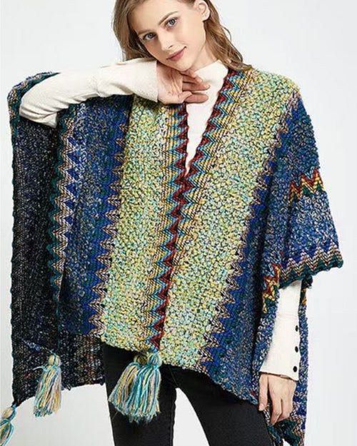 Wool Mix Poncho Wrap -Denim Green Tones