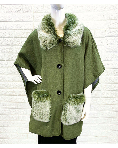 Poncho Coat With Pockets -Green