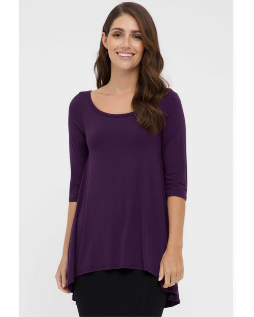 Bamboo High Low Hem Top - Purple Size 10-24