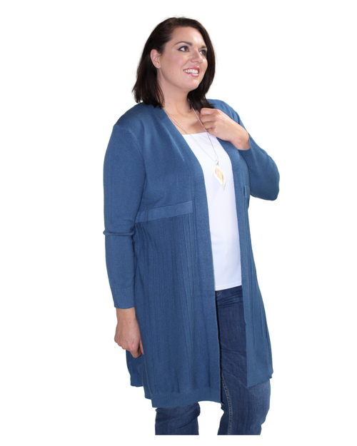 Pleat Cardigan - Indigo Blue Size 12/14 Only