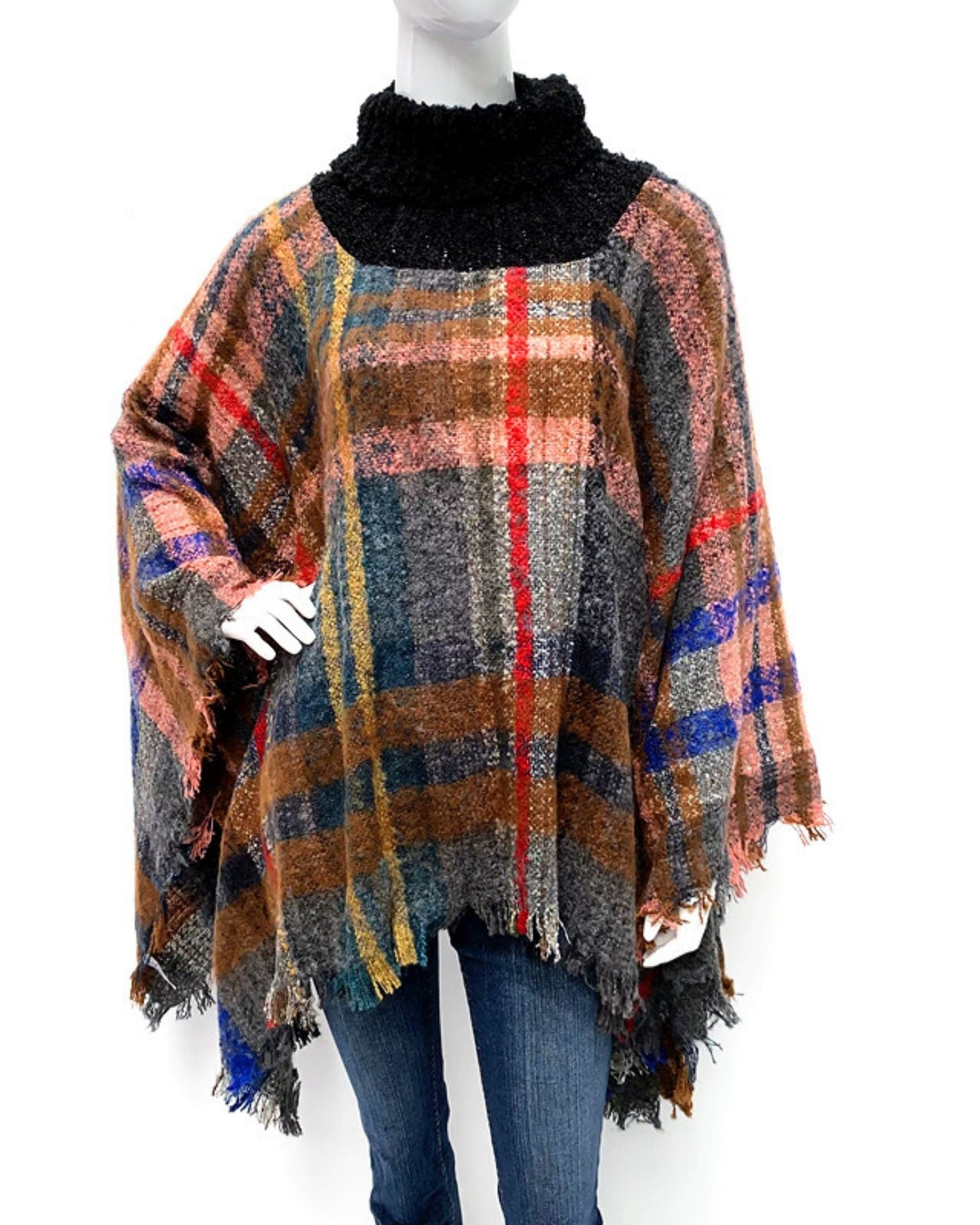Turtle Roll Neck Check Poncho - Multi