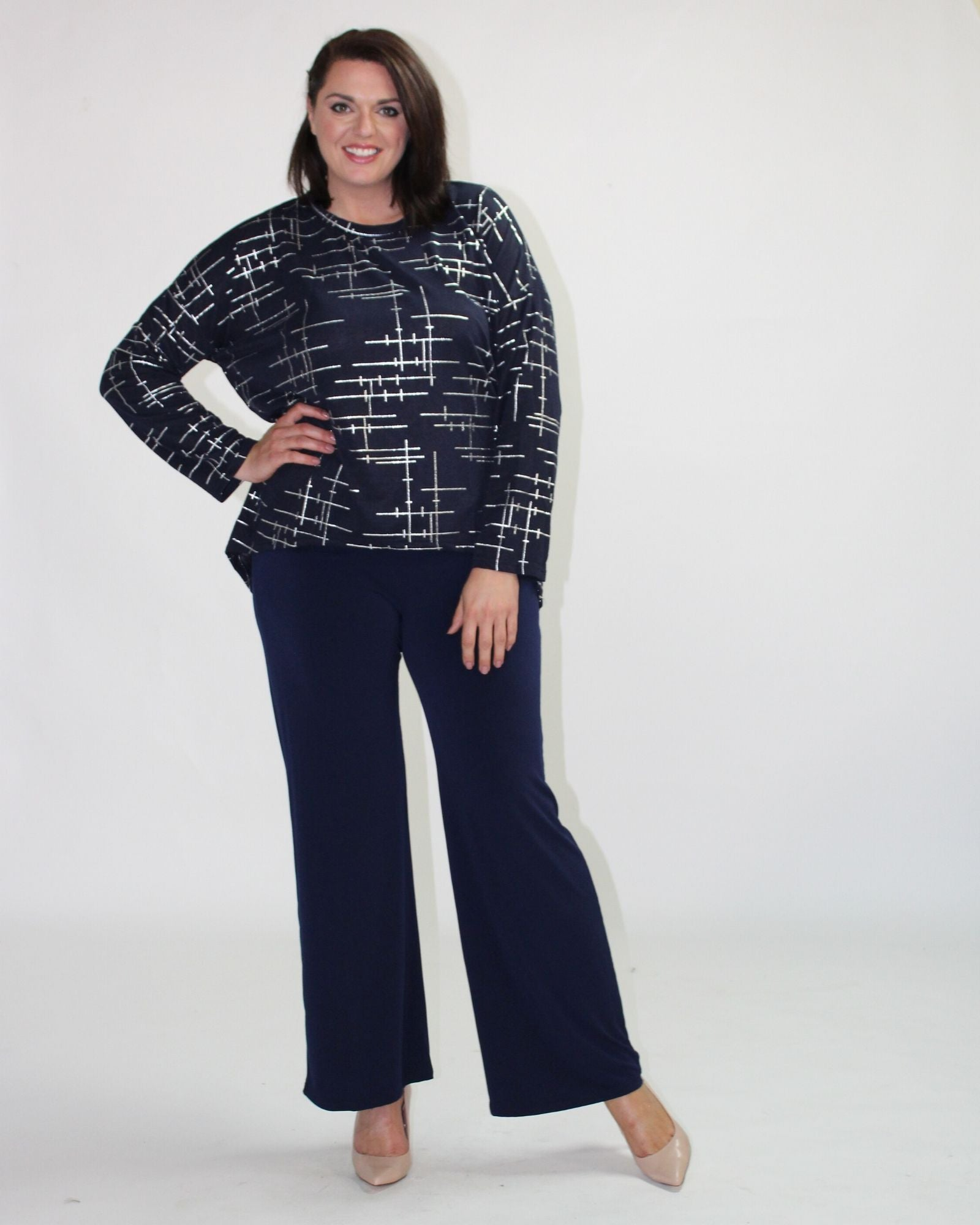 Navy Silver Foil Knit Top - Sizes 10-18
