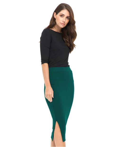 Nina Side Split Skirt - Emerald- Size 10-24