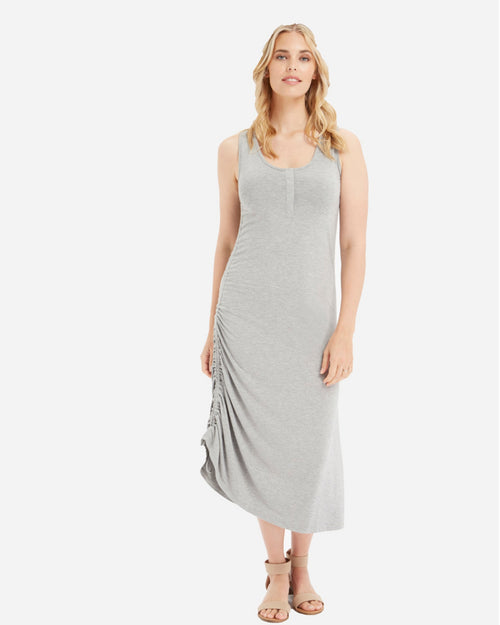 Bamboo Henley Tank Dress - Soft Grey