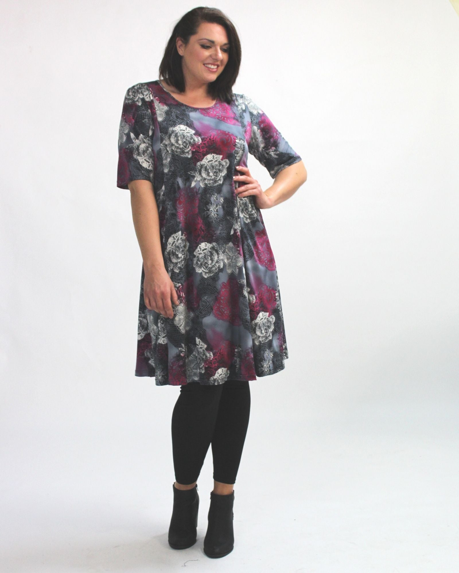 Pocket Dress - Purple & Grey Print- Size 14 Only