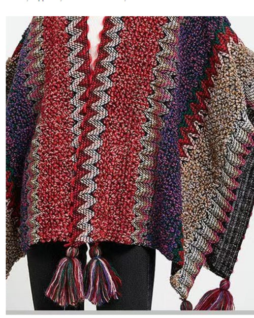 Wool Mix Poncho Wrap - Red Denim Tones