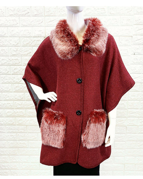Lux Poncho Coat With Pockets -Red