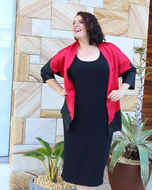 Silk Evening Jacket - Ruby Red & Black