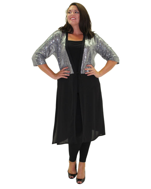 Long Shimmer Jacket - Silver - Size 12-26