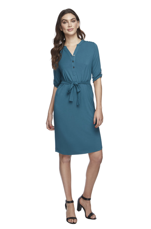 Tab Sleeve Dress -Spruce Green Size 10-18