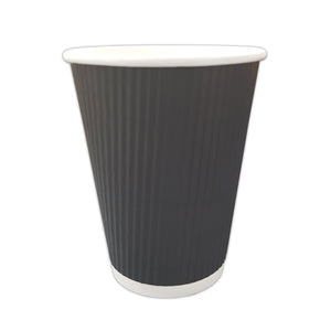 Black Ripple Paper Cups 12 oz