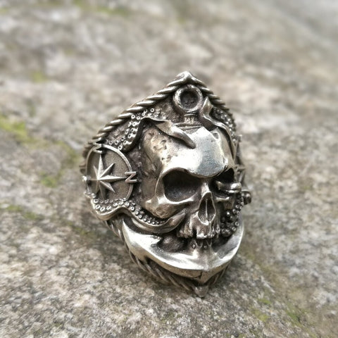 Skull and Compass Ring - Vintage Surf Co