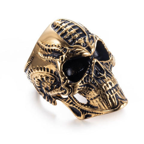 Golden Alien Skull Ring - Vintage Surf Co