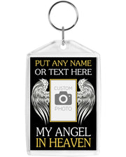 "2""x 3"" w/ Double Sided Print My Angel in Heaven Custom Photo Acrylic Keychain"